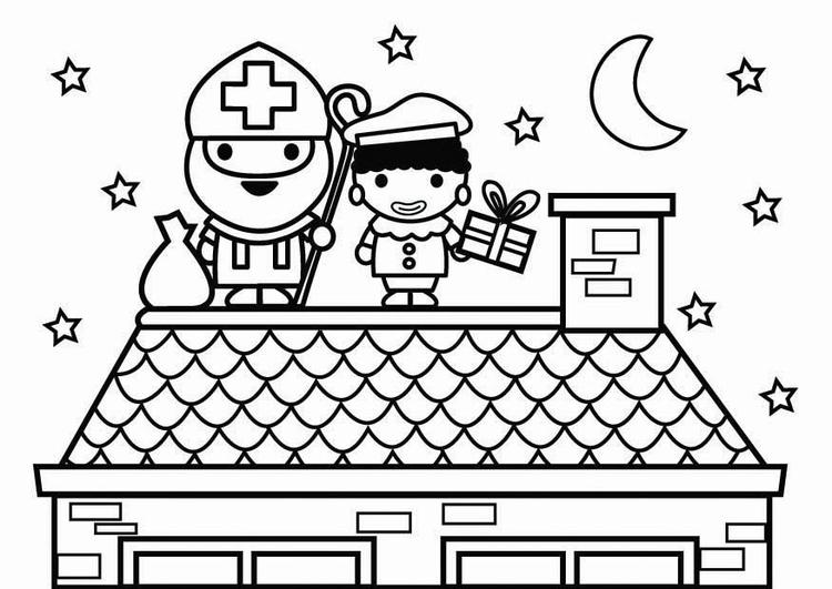 Kleurplaat Paard Kleuter Malvorlage Sankt Nikolaus Und Schwarzer Piet Auf Dem Dach