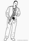 Malvorlage  Saxophonist