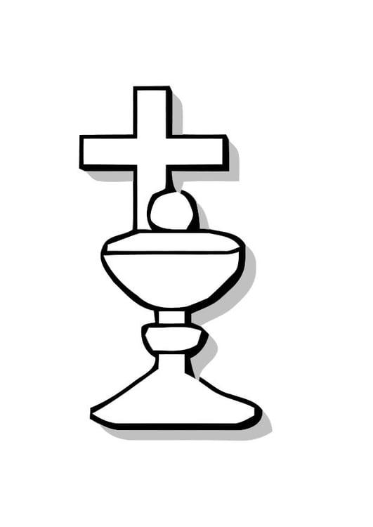 Malvorlage Schale mit Kreuz für Brot | Ausmalbild 10996.