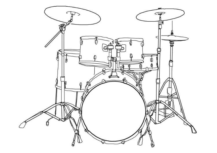 Malvorlage Schlagzeug   Ausmalbild 7002.