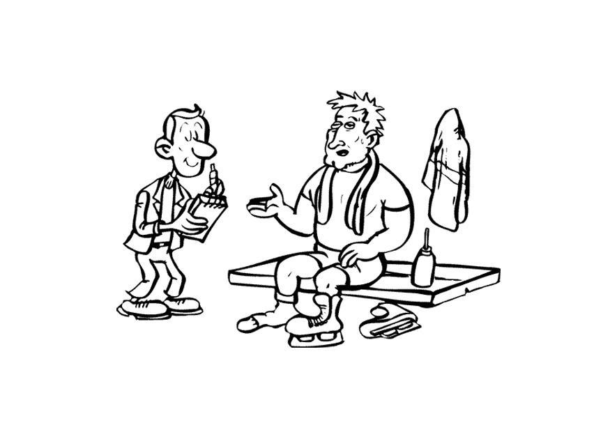malvorlage schlittschuhläufer mit reporter  kostenlose