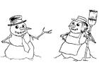 Malvorlage  Schneemann und Schneefrau