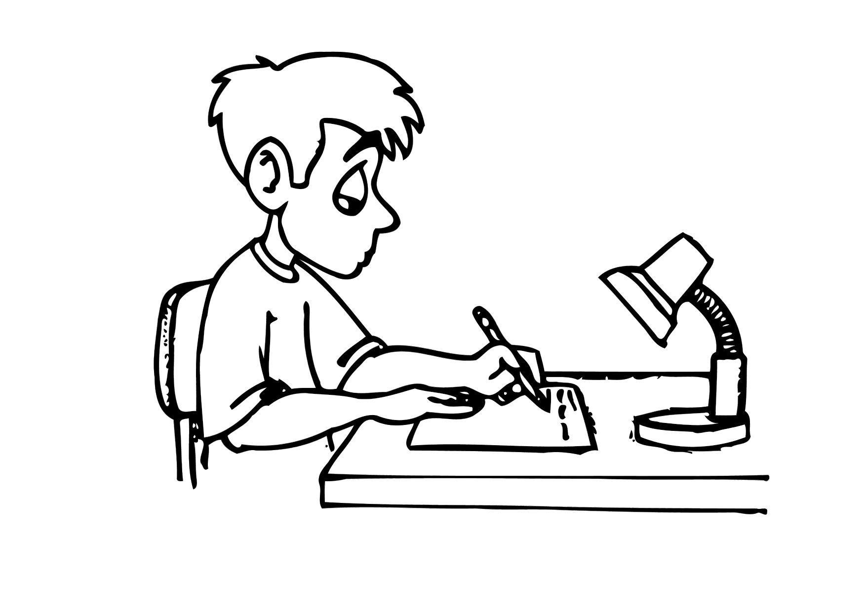 Malvorlage schreiben - Hausarbeit | Ausmalbild 12158.