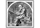 Malvorlage  schreibender Mönch