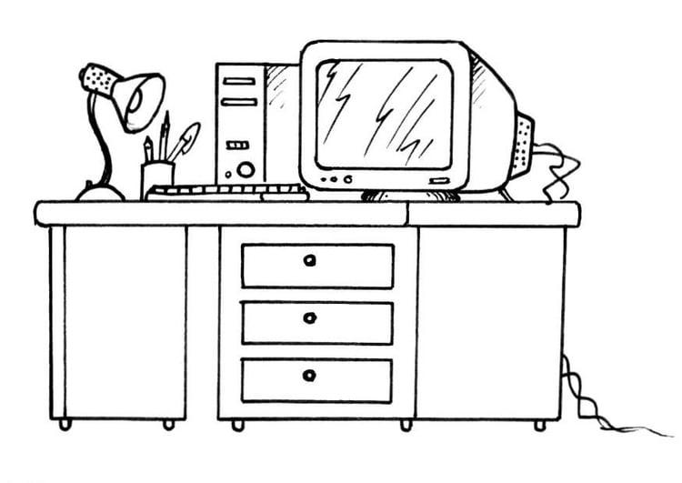 Malvorlage Schreibtisch Mit Computer Ausmalbild 21336