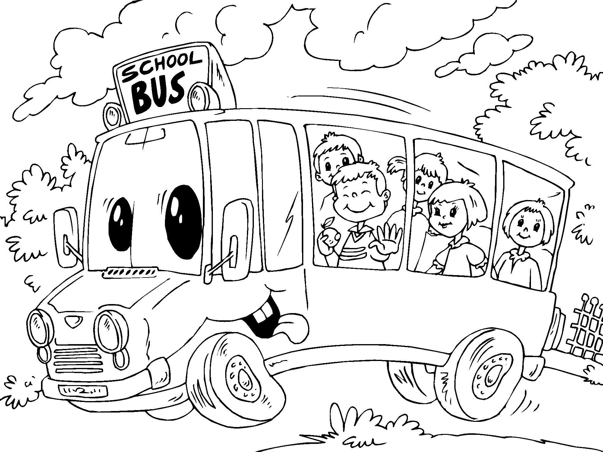 Malvorlage SChulbus | Ausmalbild 22688.
