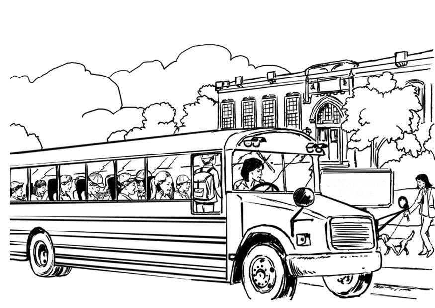 Malvorlage Schulbus | Ausmalbild 8053.