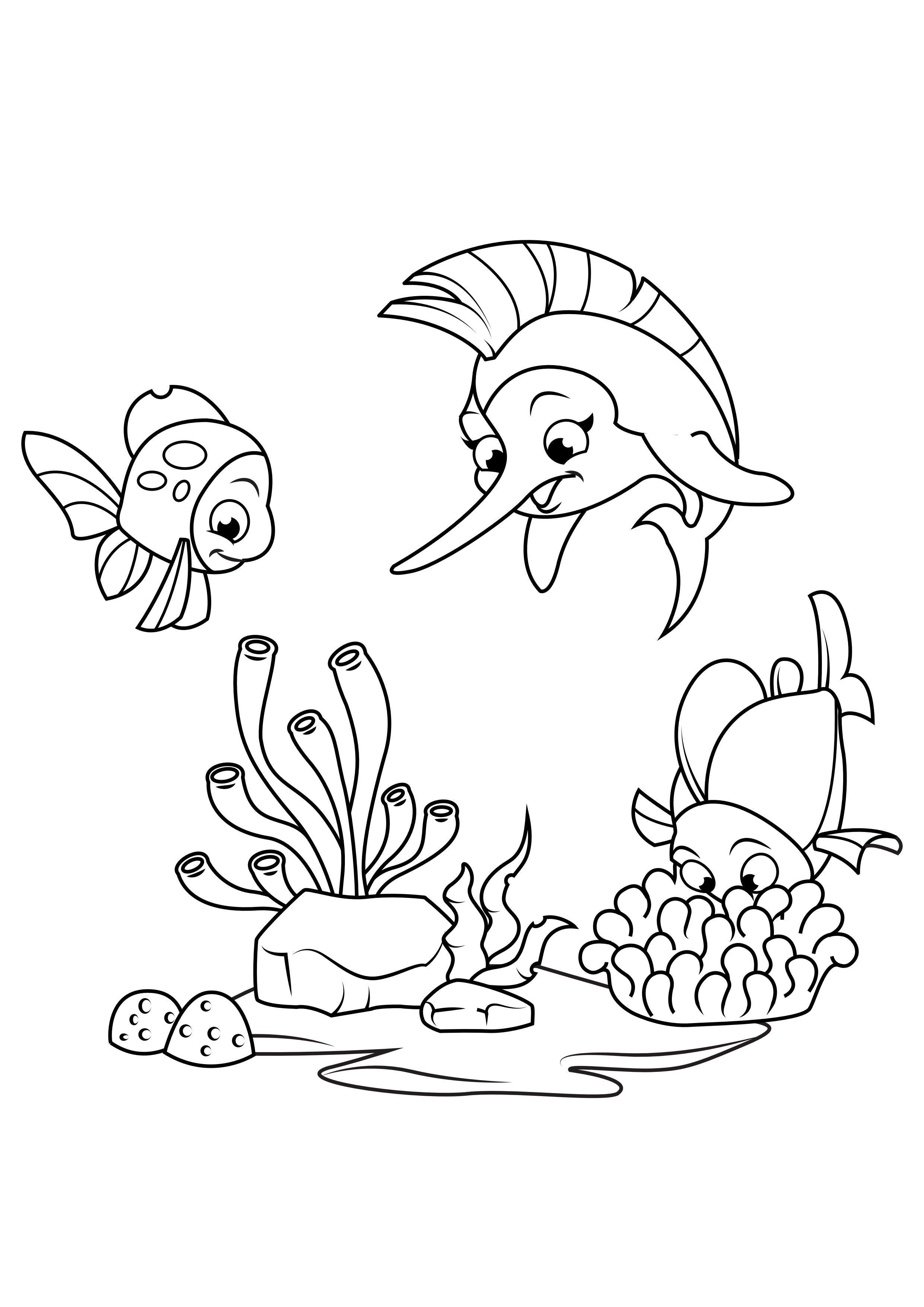 malvorlage schwertfisch spielt mit fisch  kostenlose