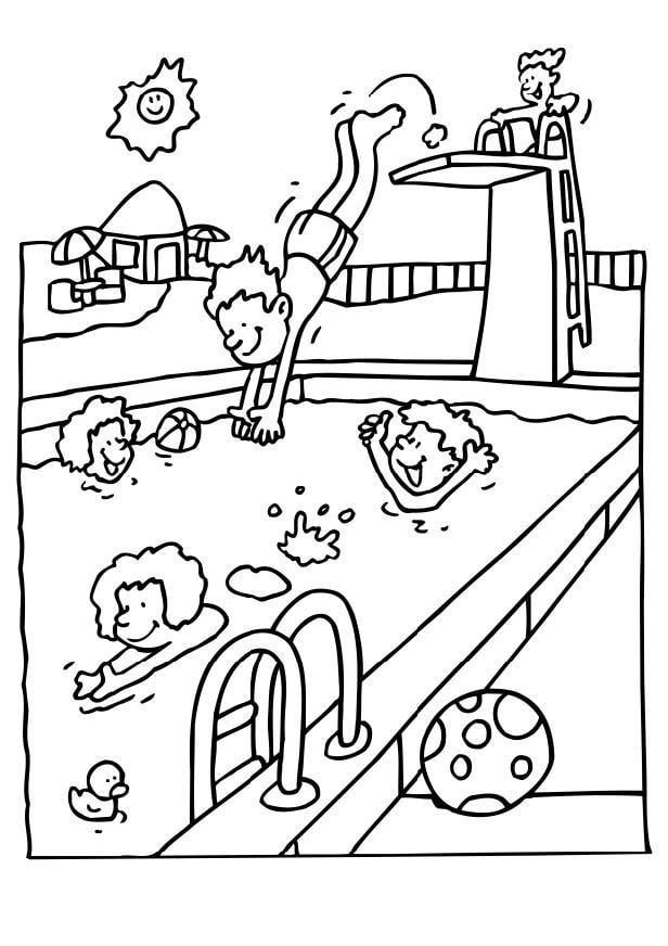 Kinder schwimmen ausmalbild  Malvorlage Schwimmbad | Ausmalbild 6573.