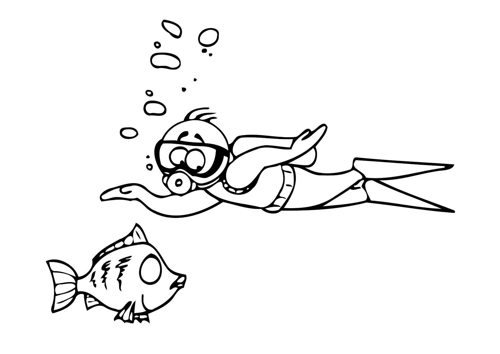 Malvorlage schwimmen   Ausmalbild 26073.