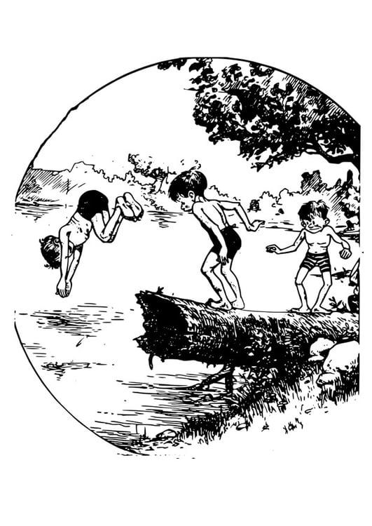 Malvorlage schwimmen in einem Teich | Ausmalbild 27926.