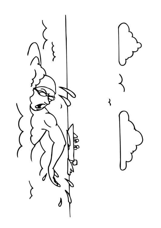Malvorlage schwimmen | Ausmalbild 26121.