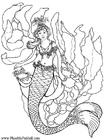 Malvorlage  Seejungfrau im Wasser