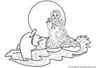 Malvorlage  Seejungfrau mit Delphin