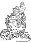 Malvorlage  Seejungfrau trinkt Regenwasser