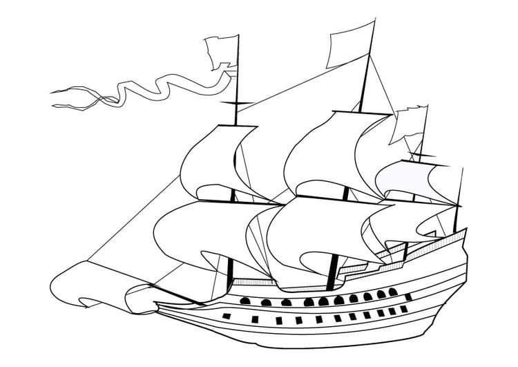 malvorlage segelschiff 17 jahrhundert  ausmalbild 9860