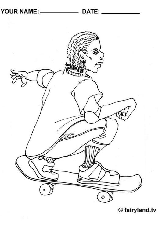 Malvorlage Skateboarden cool   Ausmalbild 6393.