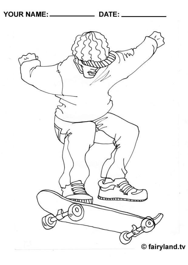 malvorlage skateboarden  ausmalbild 12004