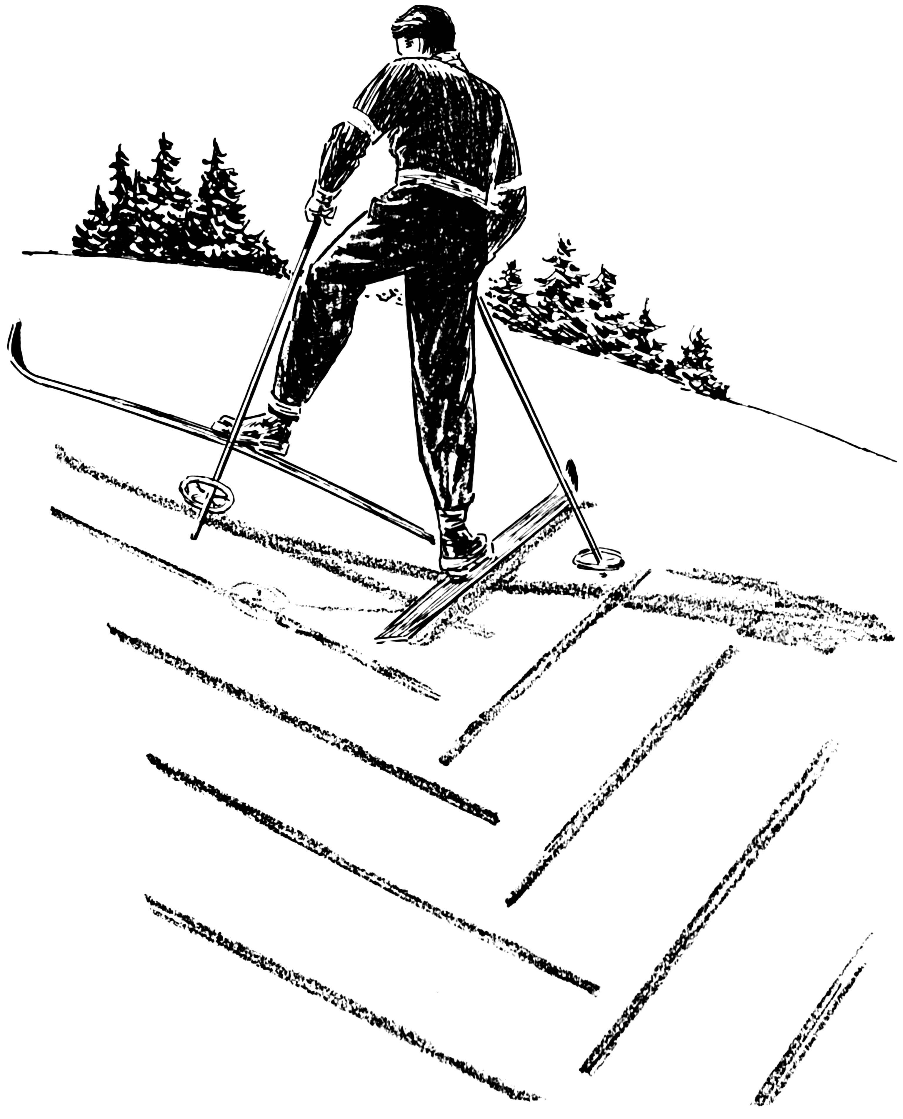 Malvorlage Ski fahren - bergauf gehen | Ausmalbild 15943.