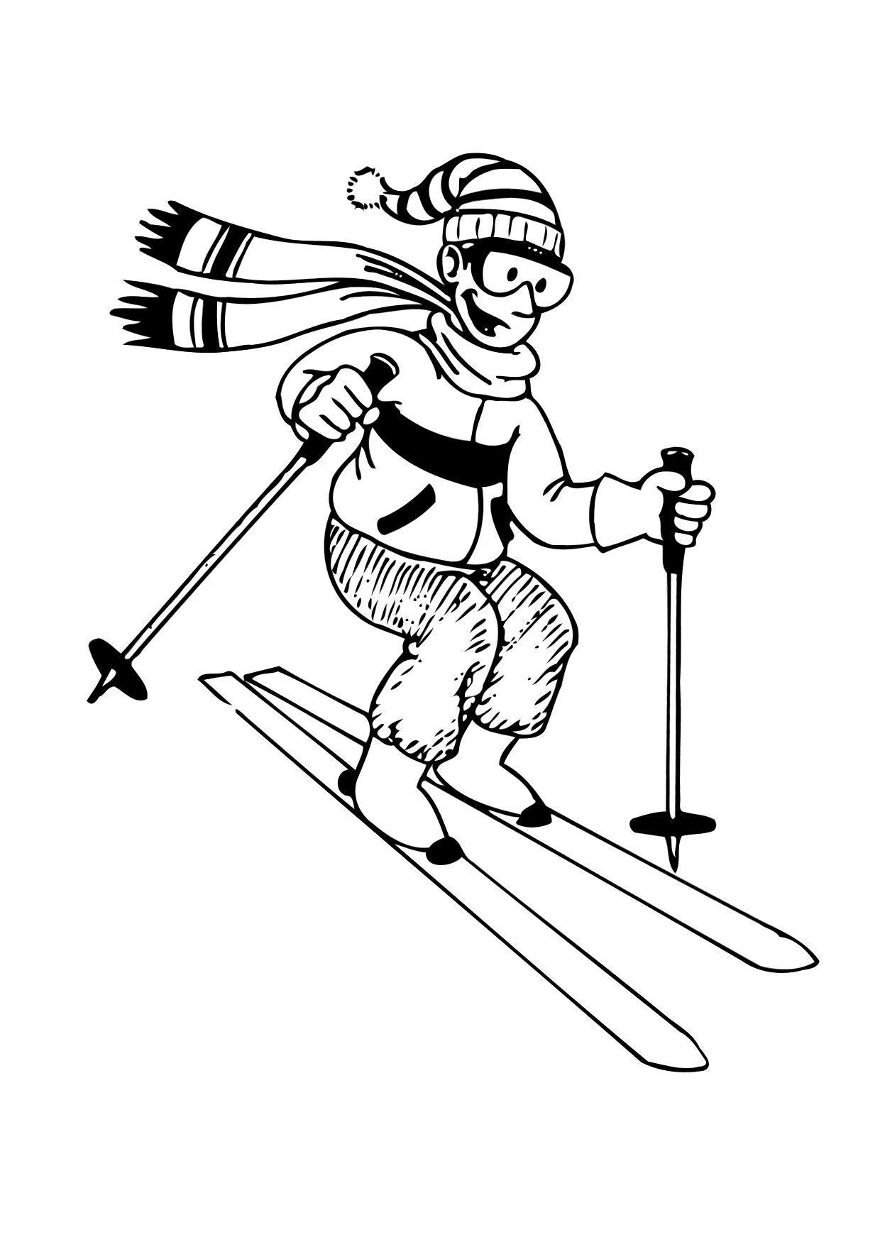 Malvorlage Skifahren | Ausmalbild 12170.
