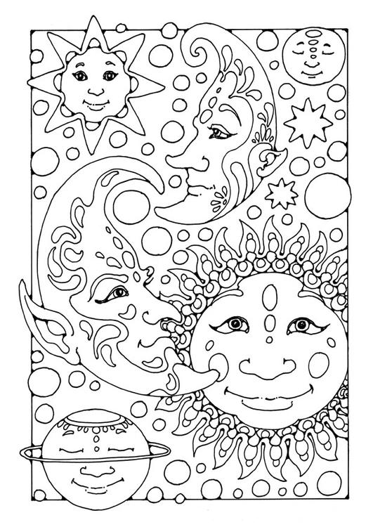 Malvorlage Sonne, Mond und Sterne   Ausmalbild 25650.