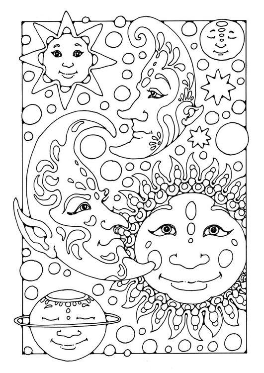 Malvorlage Sonne Mond Und Sterne Ausmalbild 25650