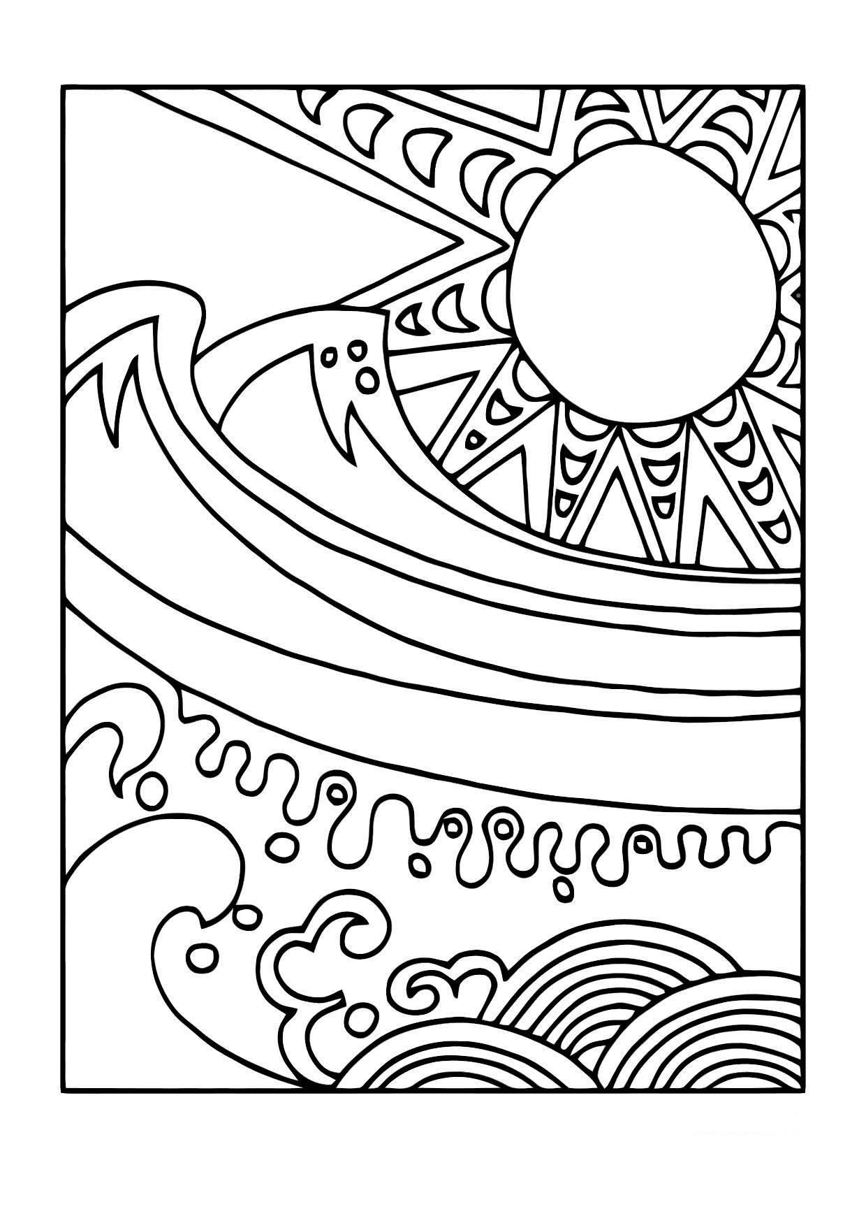 Malvorlage Sonne und Meer | Ausmalbild 11440.