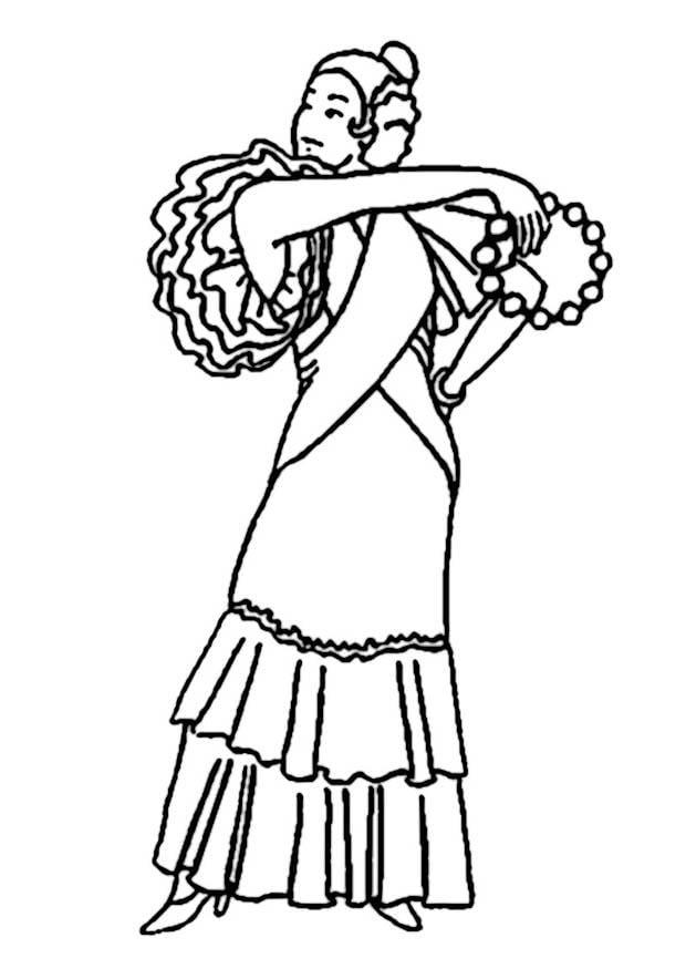 Malvorlage Spanische Frau   Ausmalbild 9354.