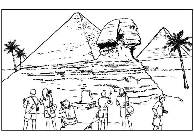Malvorlage Sphinx und Pyramiden | Ausmalbild 7523.