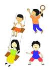 Malvorlage  spielende Kinder
