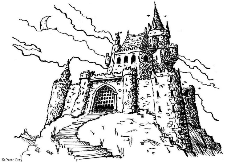 Malvorlage Spukschloss | Ausmalbild 6927.