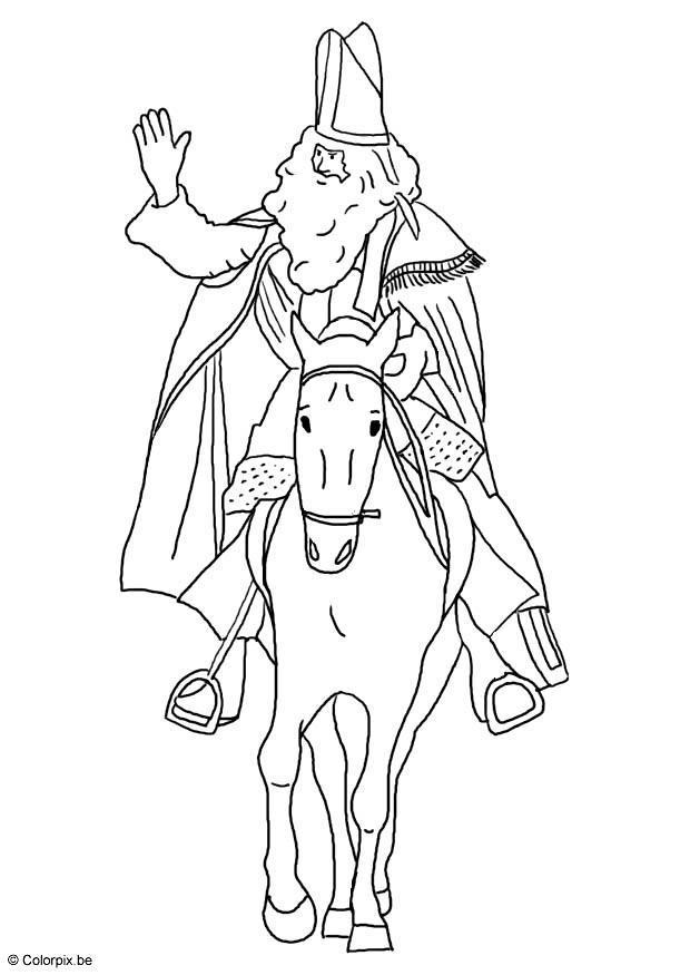 malvorlage st nikolaus mit seinem pferd  kostenlose