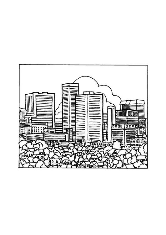 Malvorlage Stadt | Ausmalbild 9692.