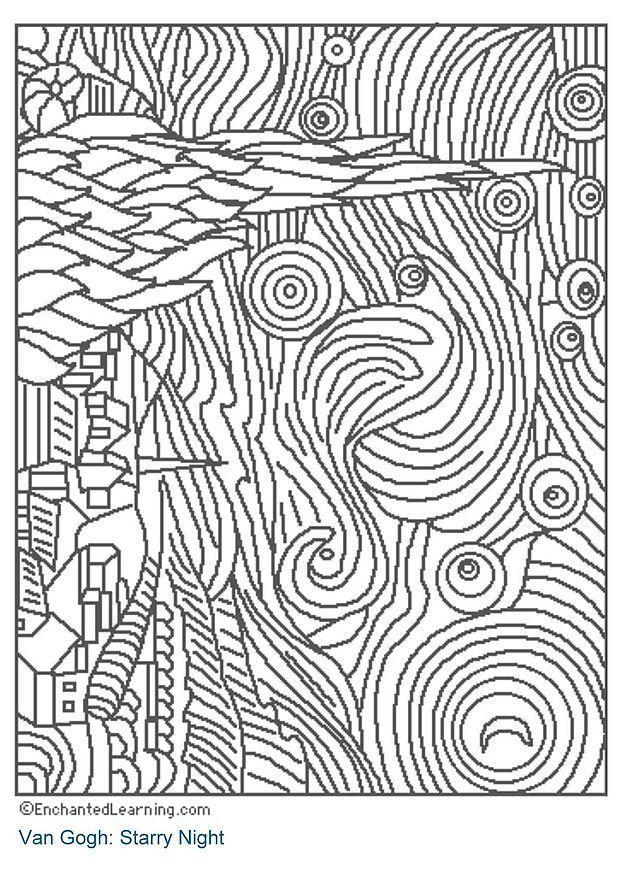 Malvorlage Sternennacht | Ausmalbild 3204.
