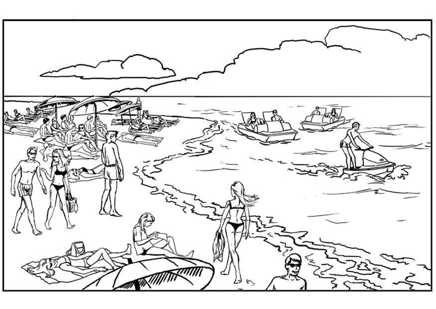 Malvorlage Strand und Meer | Ausmalbild 8066.