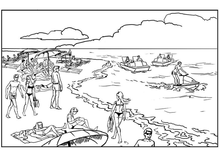 Strand malvorlage  Malvorlage Strand und Meer | Ausmalbild 7578.