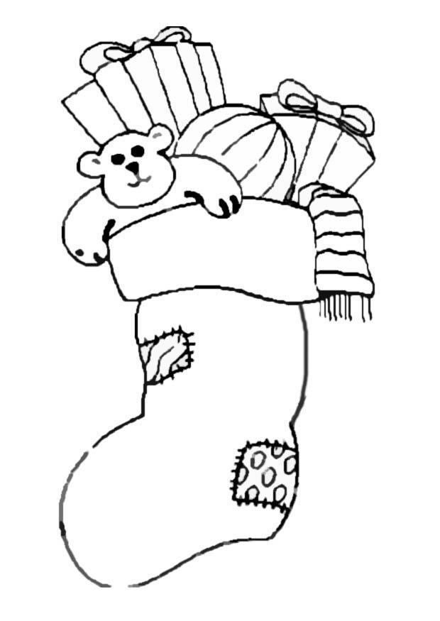 Malvorlage Strumpf mit Geschenken   Ausmalbild 8647.