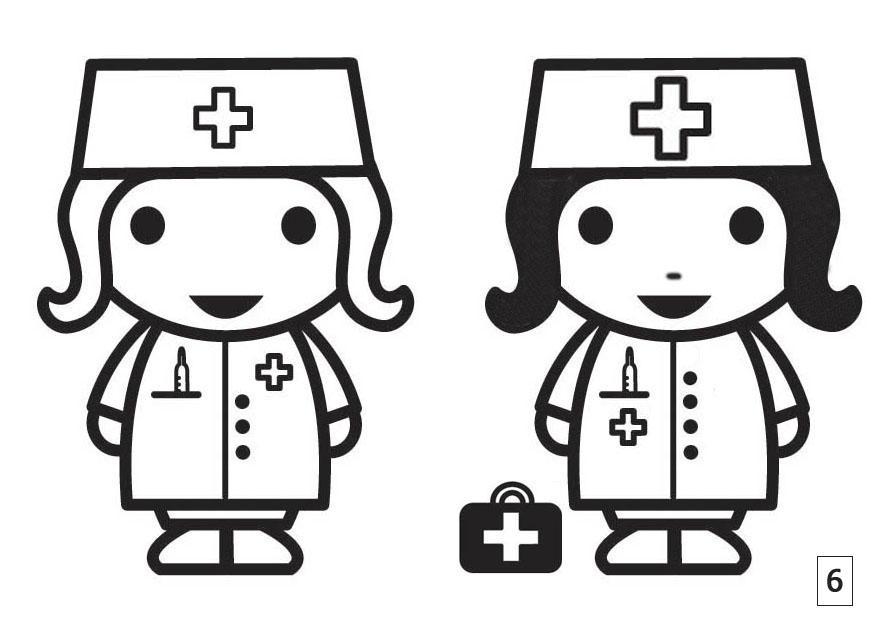 Malvorlage Such die Unterschiede - Krankenschwester | Ausmalbild 21552.