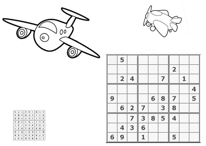 Malvorlage Sudoku - Flugzeug | Ausmalbild 21106.