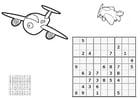 Malvorlage  Sudoku - Flugzeug