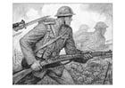 Malvorlage  Szene Erster Weltkrieg