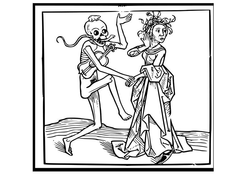 Malvorlage tanzen mit dem Tod   Ausmalbild 22931.