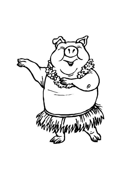 Malvorlage tanzendes Schwein | Ausmalbild 10809.