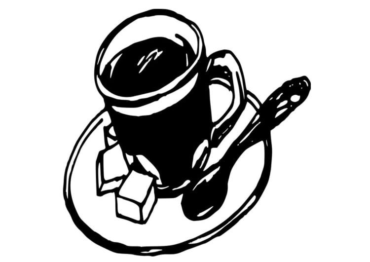 Tasse ausmalbild  Malvorlage Tasse Kaffee | Ausmalbild 19098.