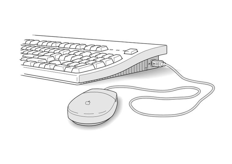 Malvorlage tastatur und maus ausmalbild 27471 - Souris ordinateur dessin ...