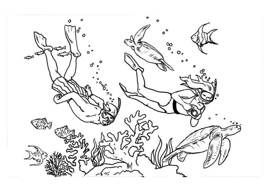 Malvorlage tauchen ausmalbild 7871 - Plongeur dessin ...