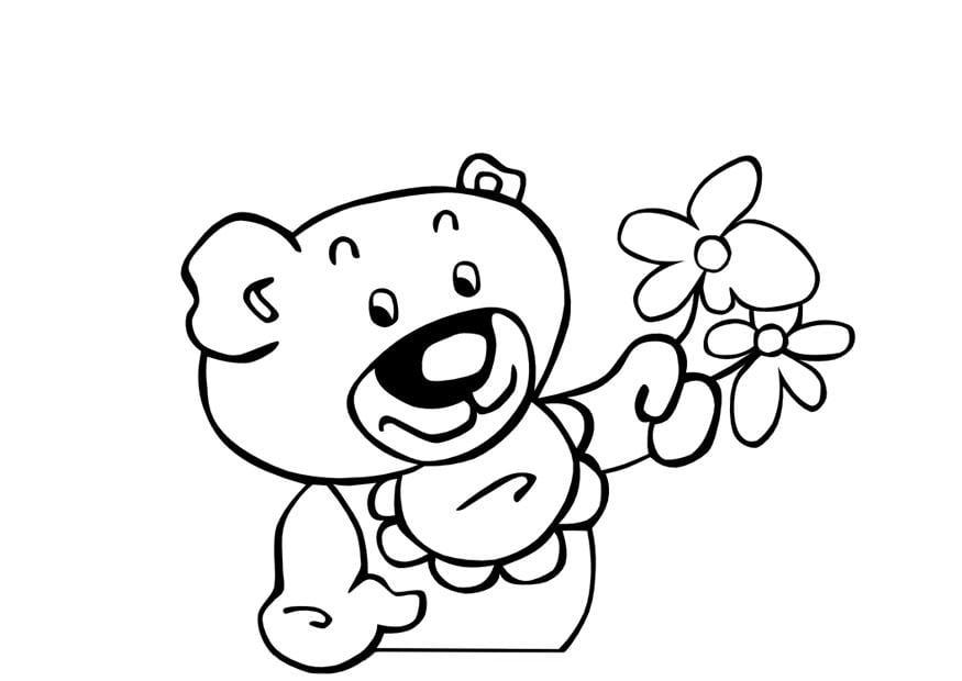 malvorlage teddybär mit blumen  kostenlose ausmalbilder