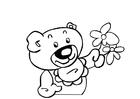 Malvorlage  Teddybär mit Blumen