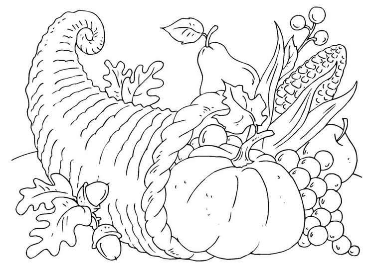 Malvorlage Thanksgiving Korb - Cornucopia | Ausmalbild 22904.