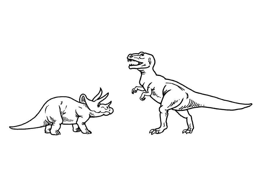 malvorlage ticeratops und t-rex - kostenlose ausmalbilder